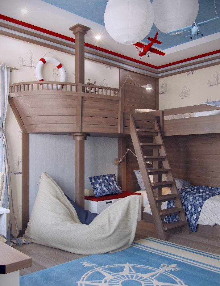 Кровать-корабль в детской для двух мальчиков