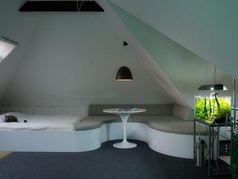 Спальня-гостиная в мансарде частного дома