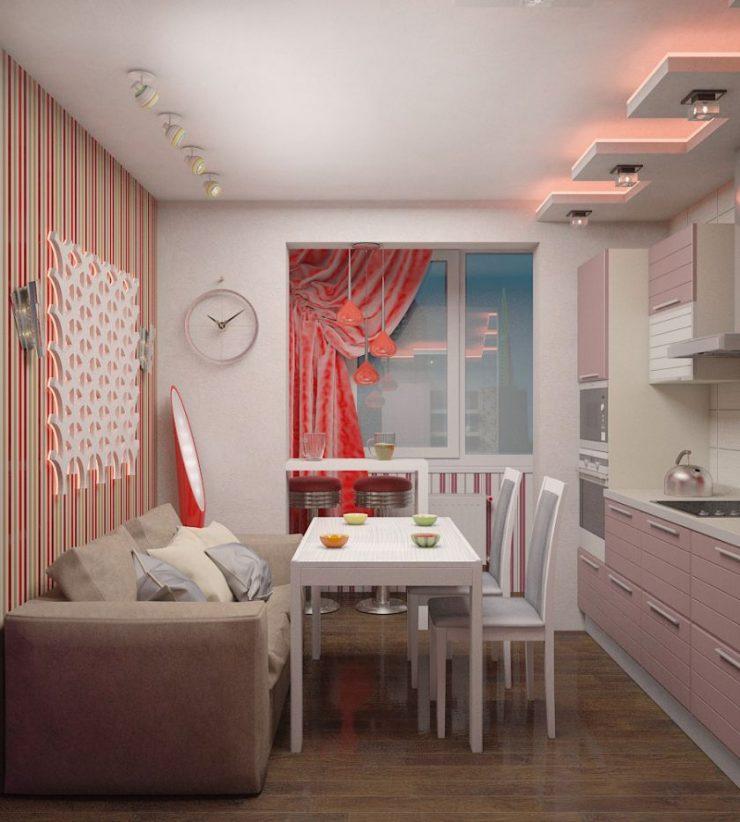 Обеденная зона на кухне в стиле поп-арт