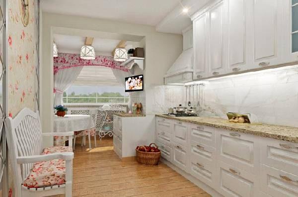Дизайн кухни совмещенной с балконом в стиле прованс