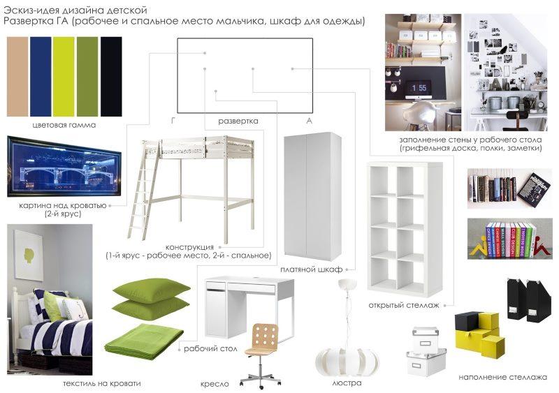 Проект дизайна комнаты для совместного проживания брата и сестры