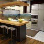 Дизайн современной кухни с высокой барной стойкой
