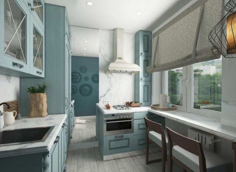 Дизайн маленькой кухни с параллельной планировкой