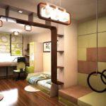 Зонирование комнаты для детей аркой