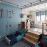 Зонирование детской комнаты подиумом