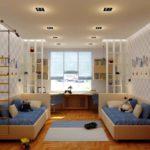 Симметричный интерьер комнаты для мальчиков