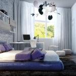 Бескаркасная кровать в интерьере детской спальни