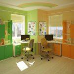 Зонирование детской комнаты цветом