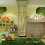 Интерьер детской комнаты с высоким потолком