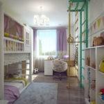 Детская комната вытянутой формы