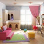 Розовая штора в спальне девочки