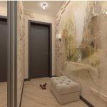 Облицовка стен коридора натуральным камнем
