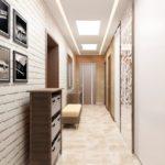 Белый кирпич на стен узкого коридора