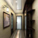 Рельефные обои в узком коридоре
