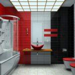 Контрастная отделка санузла с использованием красного цвета