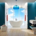Дизайн ванной с окном до пола