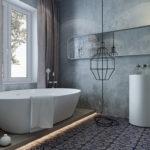 Белая сантехника в индустриальной ванной