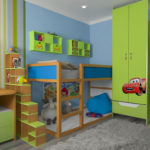 Дизайн детской двухъярусной кровати с местом для игр