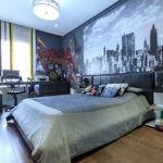 Изображение мегаполиса на фотообоях спальни