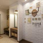 Кирпичные стены в дизайне коридора
