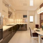 Сочетание бежевого и коричневого цветов в интерьере кухни