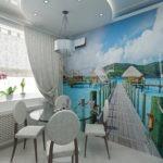 Фотообои с морской тематикой в дизайне кухни