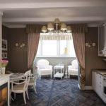Классическая кухня с присоединенным балконом