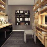 Деревянные стеллажи открытого типа в интерьере кухни