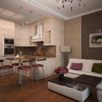 Кухня с угловым диваном и столом-трансформером
