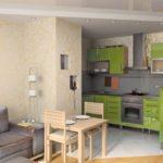 Гарнитур салатового цвета в кухне-гостиной