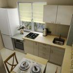 Дизайн маленькой кухни с плитой у окна