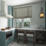Комбинированный стол на кухне в деревенском стиле