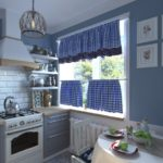 Легкие шторы на окне кухни в стиле прованс