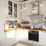 Лампочки на шнурах вместо люстры на кухне в стиле лофт