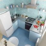 Голубой пол из керамической плитки на кухне хрущевки