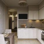 Дизайн кухни с угловым гарнитуром и подсветкой рабочих зон