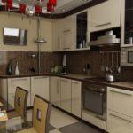 Бежевые фасады кухонного гарнитура угловой планировки