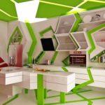 Кухонная мебель с ломаными формами в стиле модерн