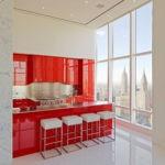 Глянцевые поверхности красного кухонного гарнитура