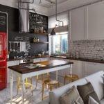 Красный холодильник на кухне индустриального стиля