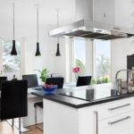 Сочетание черного цвета с белым в интерьере кухонного пространства