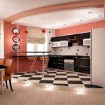 Розовые оттенки в интерьере кухни
