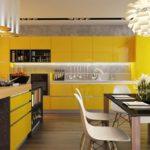 Желтый цвет в оформлении кухни в стиле модерн
