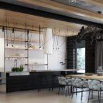 Кухня загородного дома в промышленном стиле