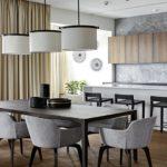 Большие светильники в дизайне кухни
