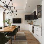 Деревянный стол на кухне в стиле модерн