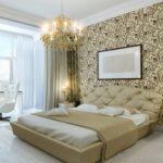Спальня в стиле модерн с обоями на стенах