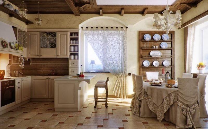 Интерьер кухни-столовой в стиле прованс
