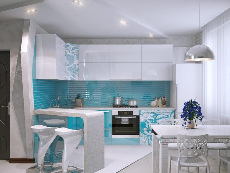 Глянцевые поверхности кухонного гарнитура в стиле модерн