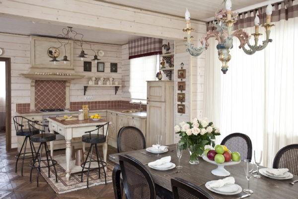 Искусственно состаренная мебель для кухни прованс